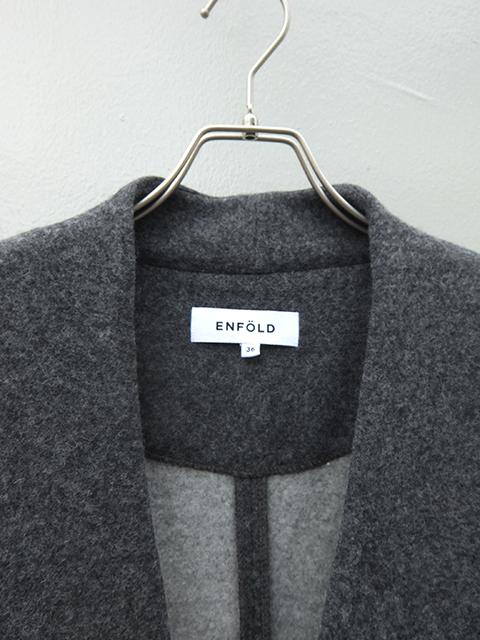 ENFOLD-エンフォルド 180-0350 ラムウールノーカラーカーディガン チャコールグレー (2)