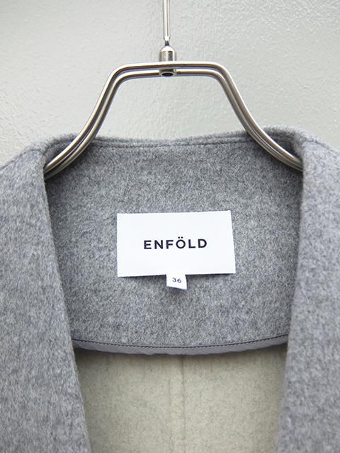 ENFOLD-エンフォルド 300AA 630-1480 T.GREY ウールリバーノーカラーコート (2)